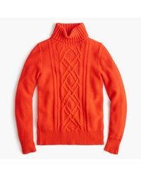 J.Crew   Red Cambridge Cable Turtleneck Sweater for Men   Lyst