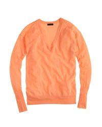 J.Crew | Orange Italian Featherweight Cashmere V-neck Boyfriend Sweater | Lyst