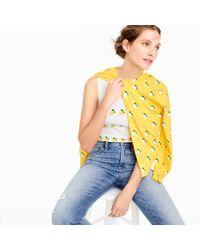 J.Crew Yellow Cotton Jackie Cardigan Sweater In Lemon Print