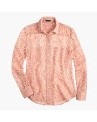 J.Crew | Pink Collection French Lace Shirt | Lyst