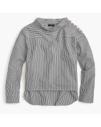 J.Crew - Gray Funnelneck Striped Shirt - Lyst