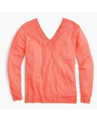 J.Crew Pink Italian Featherweight Cashmere Double V-neck Sweater