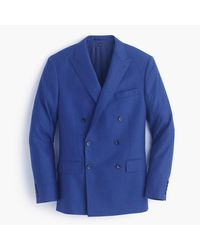 J.Crew   Blue Ludlow Double-breasted Suit Jacket In Heathered Italian Wool Flannel for Men   Lyst