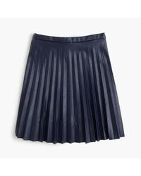 J.Crew - Blue Faux-leather Pleated Mini Skirt - Lyst