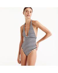 J.Crew Blue Plunging Halter One-piece Swimsuit In Classic Stripe