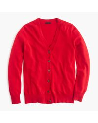 J.Crew | Red Classic V-neck Cardigan Sweater | Lyst