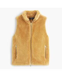 J.Crew - Yellow Plush Fleece Excursion Vest - Lyst