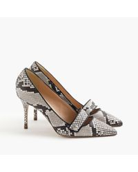 J.Crew Natural Elsie Pavé Pumps In Snakeskin-printed Leather