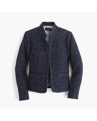 J.Crew Blue Metallic Tweed Jacket With Front Pockets