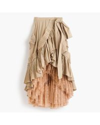 J.Crew Multicolor Collection Ruffle Skirt In Dark Stone With Floating Dot Tulle Underlay