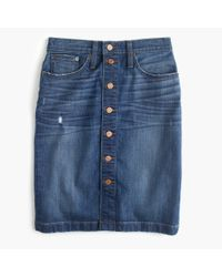J.Crew Blue Button-front Denim Mini Skirt