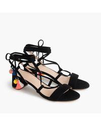 J.Crew Black Suede Lace-up Sandals
