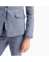 J.Crew - Blue Chambray Regent Blazer With Ruffle Trim for Men - Lyst