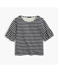 J.Crew - Blue Ruffle-sleeve Top - Lyst