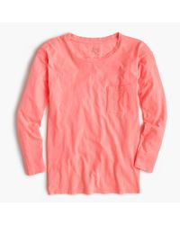 J.Crew Pink Long-sleeve Garment-dyed Pocket T-shirt