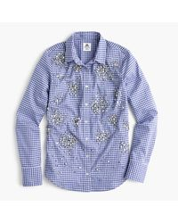 J.Crew Blue Collection Thomas Mason Top In Embellished Gingham