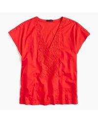 J.Crew - Red Eyelet V-neck T-shirt - Lyst