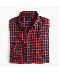 J.Crew | Red Slim Brushed Twill Shirt In Fisherman's Plaid for Men | Lyst