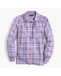 J.Crew | Purple Petite Gathered Popover Shirt In Lilac Plaid for Men | Lyst