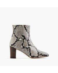 J.Crew | Black Heeled Ankle Boots In Snakeskin-printed Leather | Lyst