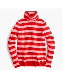J.Crew   Red Italian Cashmere Ribbed Turtleneck In Stripe   Lyst
