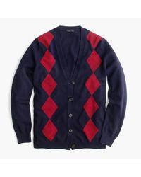J.Crew | Blue Italian Cashmere Boyfriend Cardigan Sweater In Argyle | Lyst