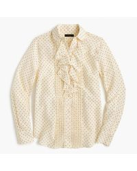 J.Crew | Natural Tuxedo Ruffle Top In Polka-dot Silk | Lyst