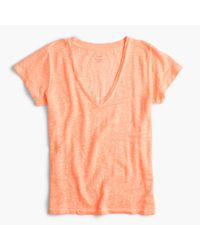 J.Crew   Orange New Linen T-shirt   Lyst