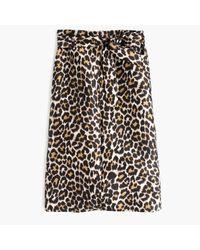 J.Crew   Black Tie-waist Skirt In Leopard Print   Lyst