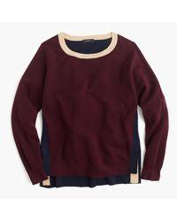 J.Crew   Purple Colorblock Crewneck Sweater With Side Snaps   Lyst