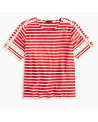 J.Crew | Lace Embroidered Top In Stripe | Lyst