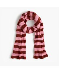 J.Crew | Red Ribbed Striped Cashmere Scarf | Lyst