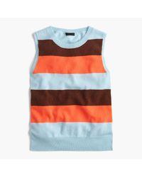 J.Crew | Orange Italian Cashmere Striped Shell | Lyst