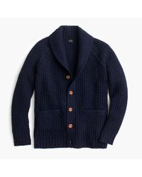 J.Crew | Blue Shawl-collar Cardigan In Donegal Wool for Men | Lyst