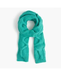 J.Crew Blue Cable Scarf In Italian Wool Blend
