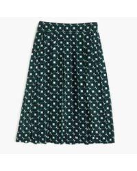 J.Crew | Green Petite Double-pleated Midi Skirt In Shadowbox Print | Lyst