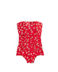 J.Crew | Red Ruched Bandeau One-piece Swimsuit In Falling Foral Print | Lyst