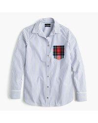 J.Crew   Blue Petite Striped Boy Shirt With Tartan Pocket for Men   Lyst