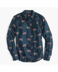 J.Crew - Blue Printed Silk-twill Shirt - Lyst