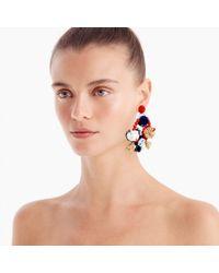 J.Crew - Blue Raffia Flower Earrings - Lyst