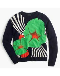 J.Crew | Blue Italian Cashmere Crewneck Sweater In Ratti Striped Floral | Lyst