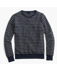 J.Crew | Blue Rugged Cotton Crewneck Sweater In Navy Stripe for Men | Lyst