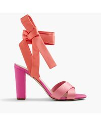J.Crew Pink Satin Colorblock Sandals With Ankle Wraps