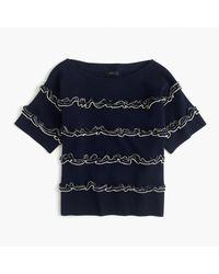 J.Crew Blue Ruffle Boatneck Sweater