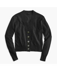 J.Crew | Black Cropped Lightweight Cardigan Sweater | Lyst