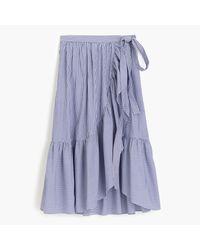 J.Crew | Blue Ruffle Wrap Skirt In Shirting Stripe | Lyst