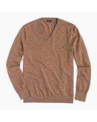 J.Crew   Brown Slim Italian Merino Wool V-neck Sweater for Men   Lyst