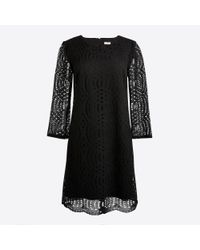J.Crew - Black Three-quarter Sleeve Lace Shift Dress - Lyst