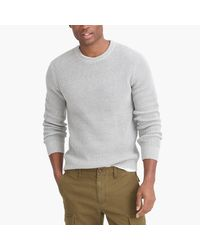 J.Crew Gray Cotton Waffle Crewneck Sweater for men