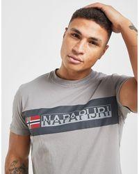 Block Logo T-Shirt di Napapijri in Gray da Uomo